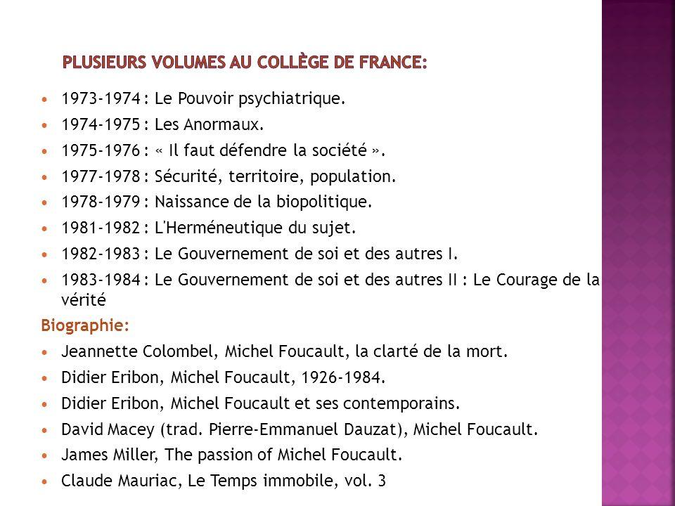 Plusieurs volumes au Collège de France: