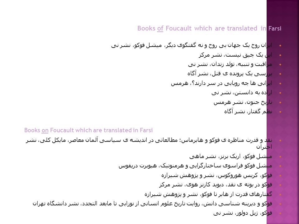 Books of Foucault which are translated in Farsi