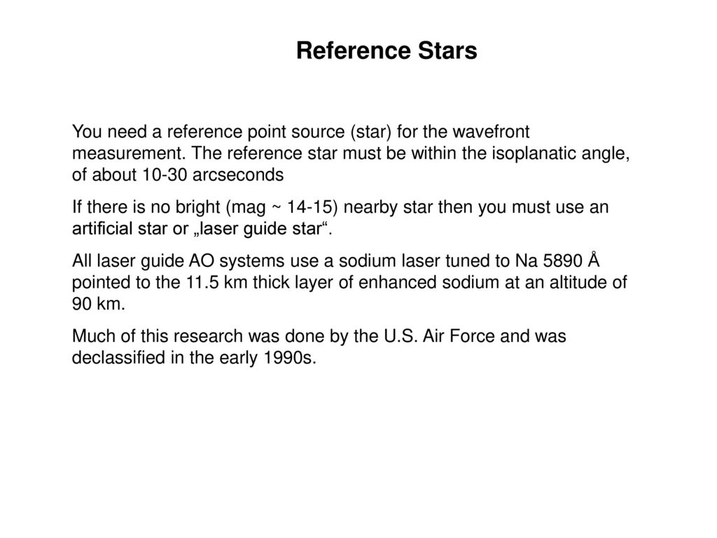 Reference Stars