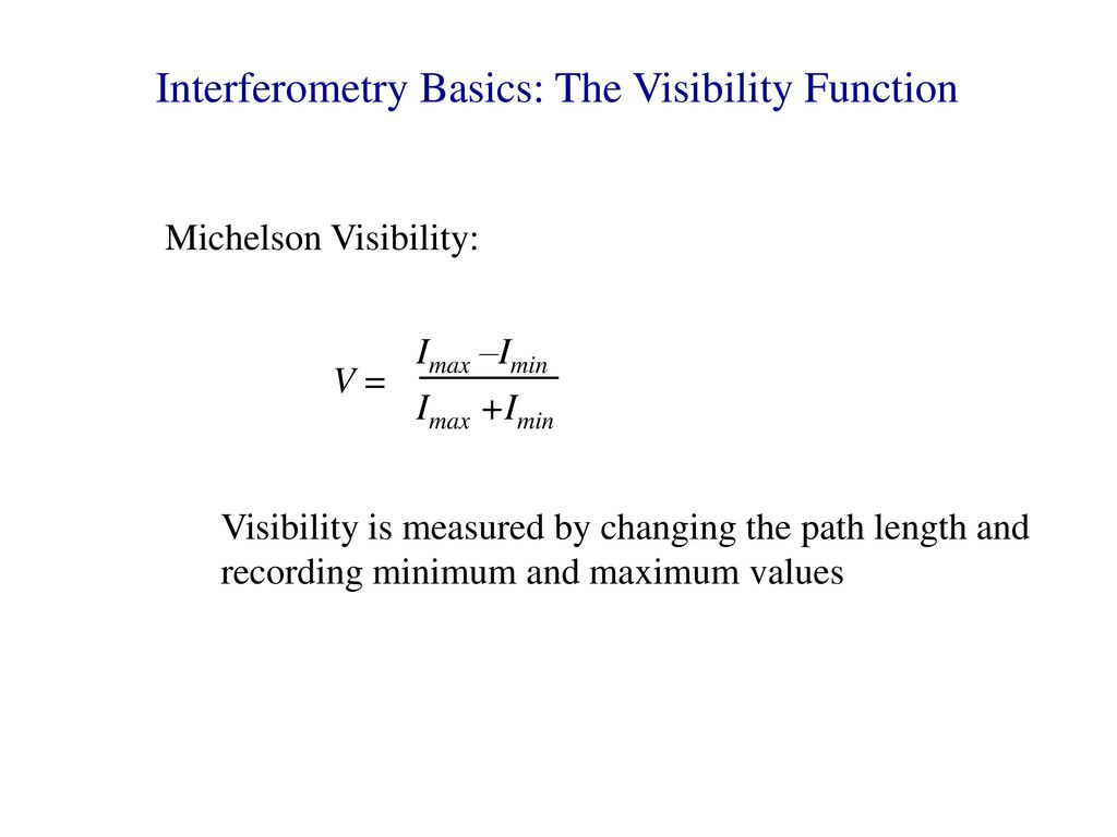 Interferometry Basics: The Visibility Function