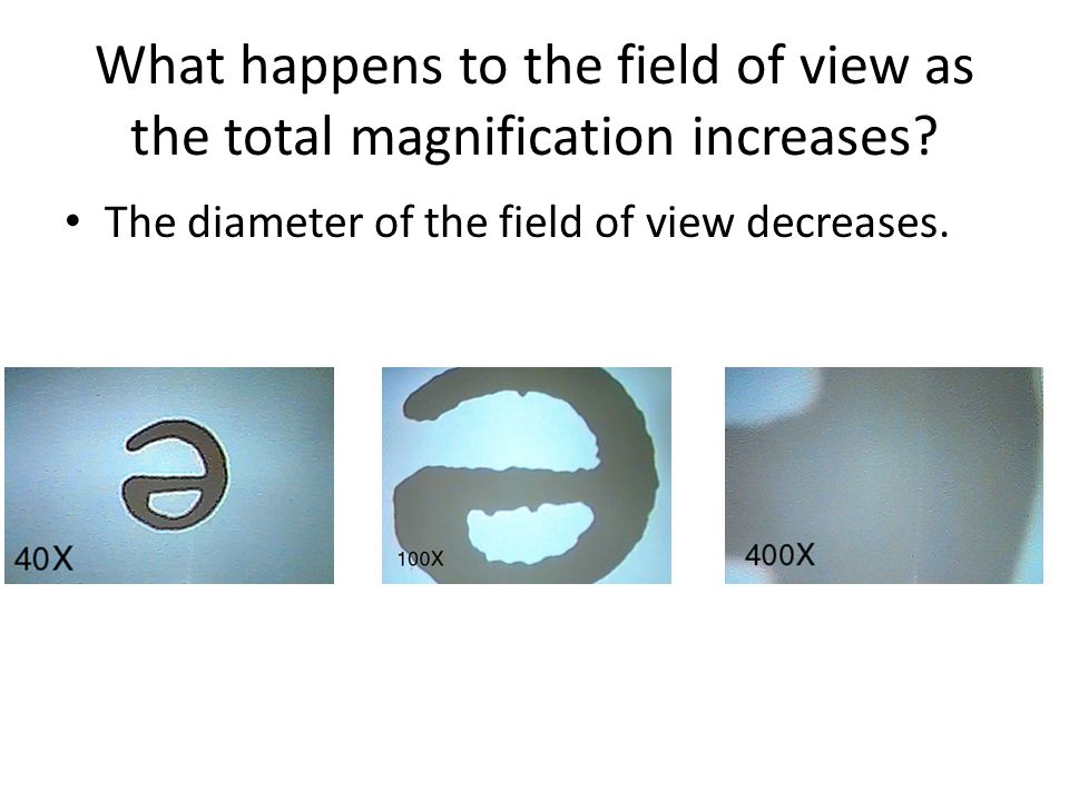 magnification and largest diameter field Calculating the diameter of the field of view at other magnifications there is an inverse relationship between the total magnification and the diameter of the field of view -ie, as magnifications increases the diameter of the field decreases in proportion, so the.