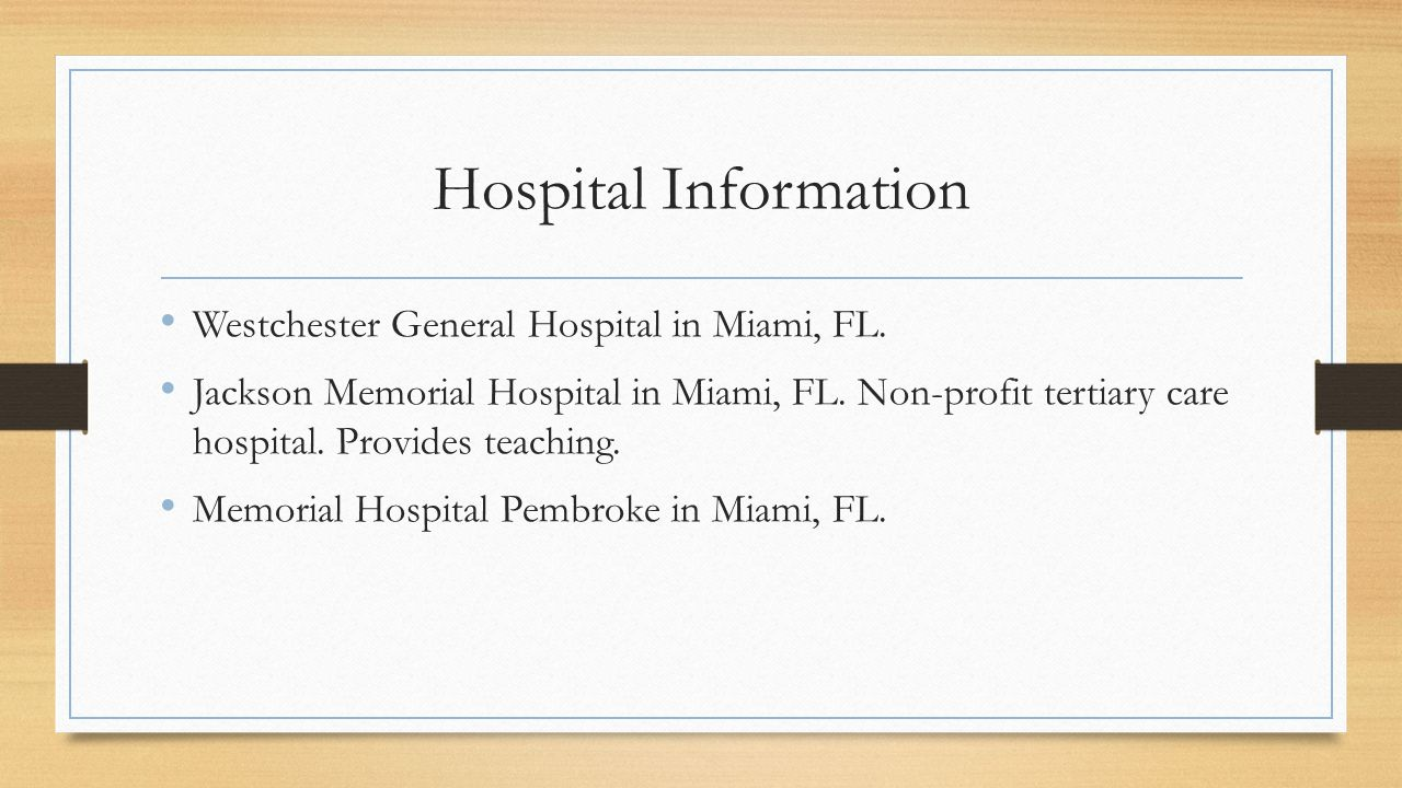 Hospital Information Westchester General Hospital in Miami, FL.