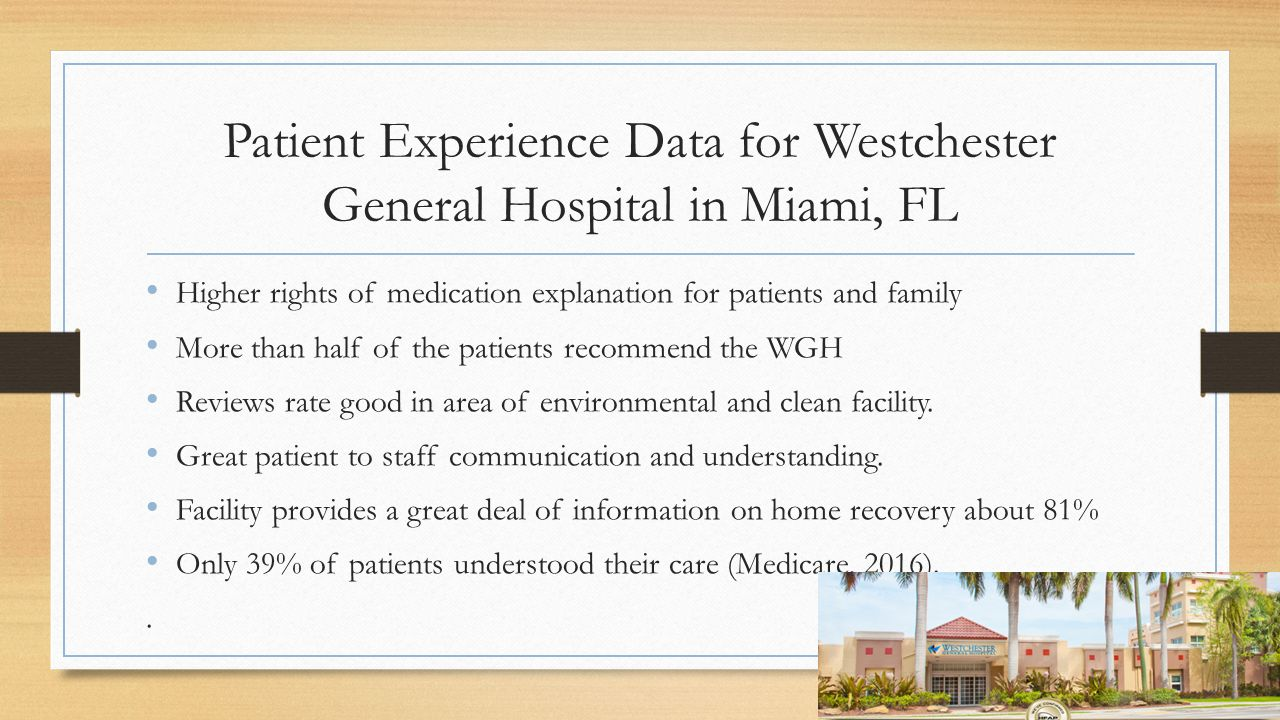 Patient Experience Data for Westchester General Hospital in Miami, FL