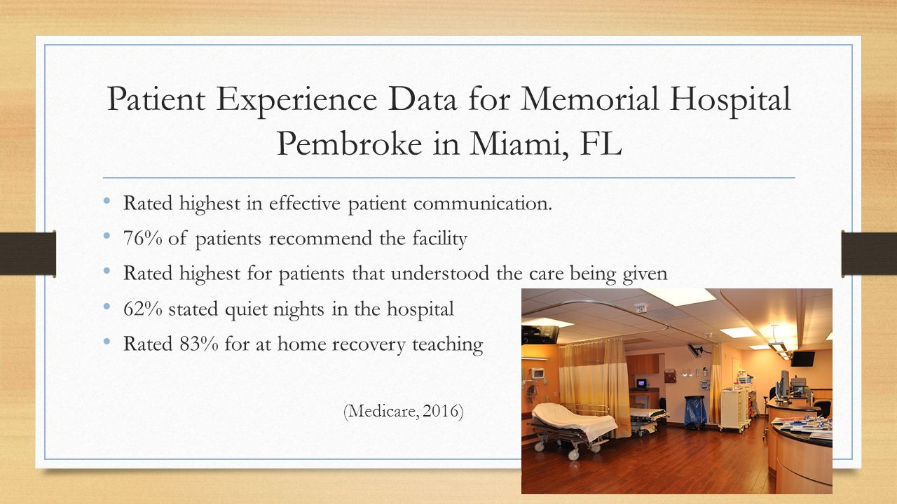 Patient Experience Data for Memorial Hospital Pembroke in Miami, FL