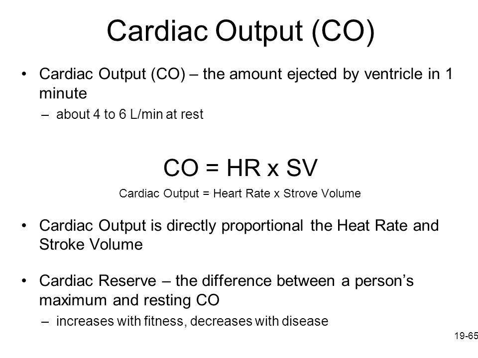 Cardiac Output = Heart Rate x Strove Volume