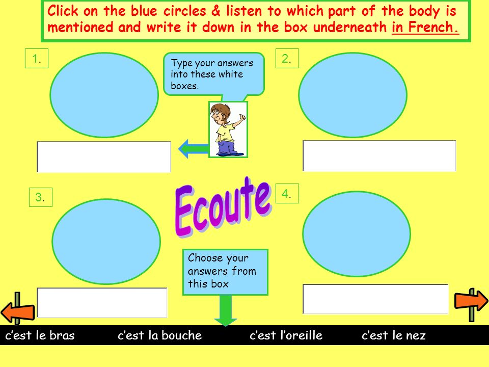 Click on the blue circles & listen to which part of the body is mentioned and write it down in the box underneath in French.