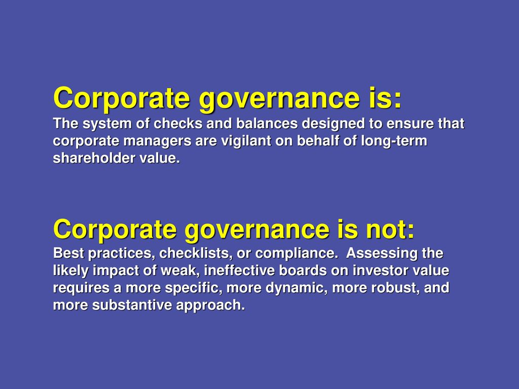 corporate governance is not for small However, given that theories of corporate governance and best practices have  evolved in the realm of large, listed companies, it is not readily apparent for sme .
