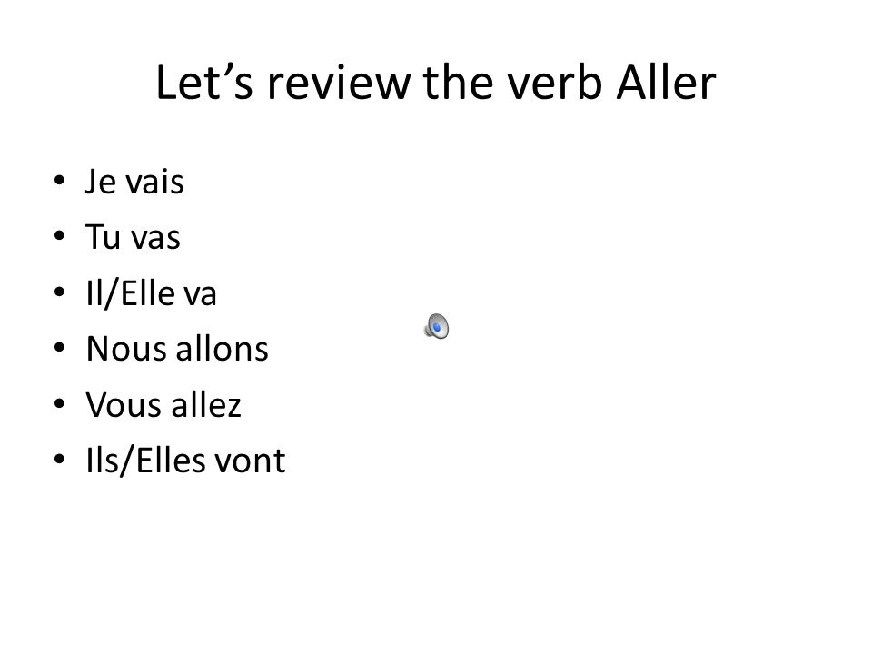 Let's review the verb Aller