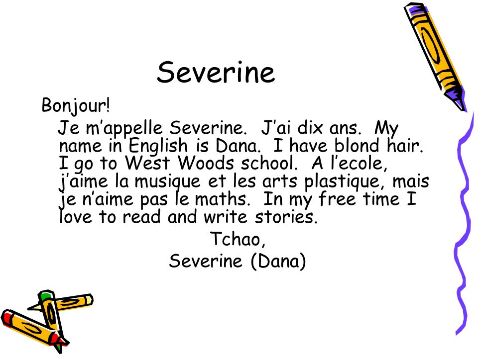 Severine Bonjour!