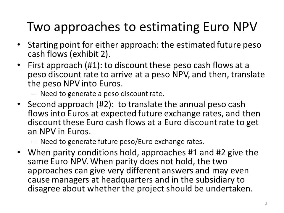 Two approaches to estimating Euro NPV