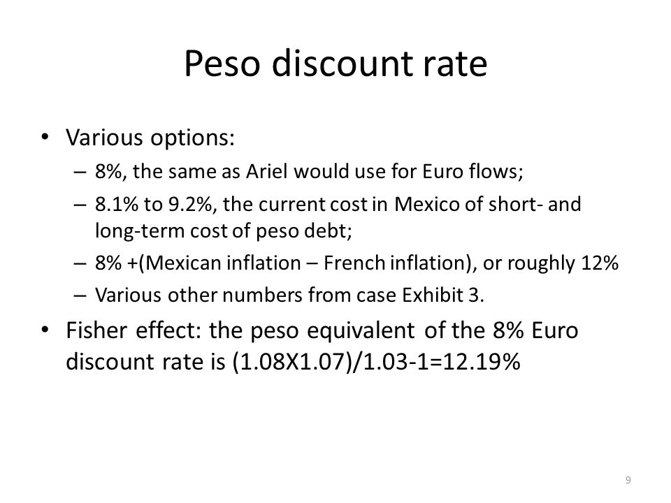 Peso discount rate Various options: