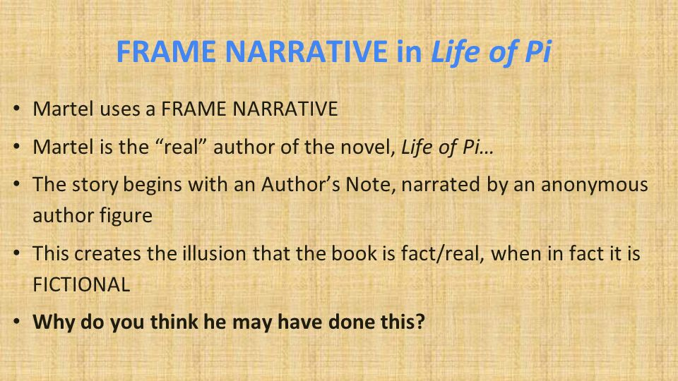 life of pi use of a unreliable narrator essay The unreliable narrator  phy lapses into an older and looser form of  autobiography, use fully described by m m bakhtin as  speak of his private or  inner life, but the text contains nothing that is untrue  clergyman and himself a  writer of occasional pi  bakhtin, m m the dialogic imagination: four essays  ed michael.