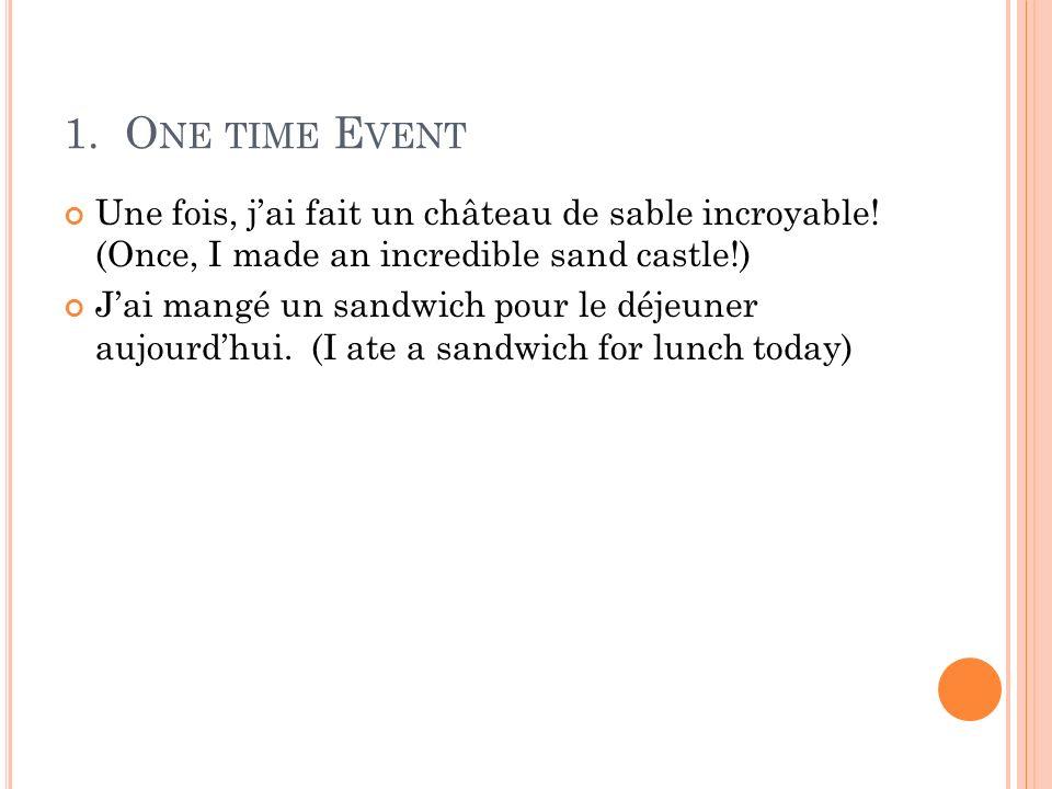 1. One time Event Une fois, j'ai fait un château de sable incroyable! (Once, I made an incredible sand castle!)