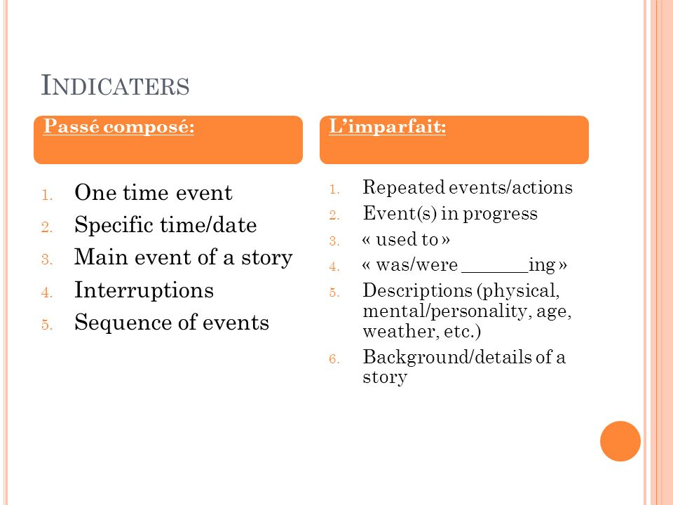 Indicaters One time event Specific time/date Main event of a story