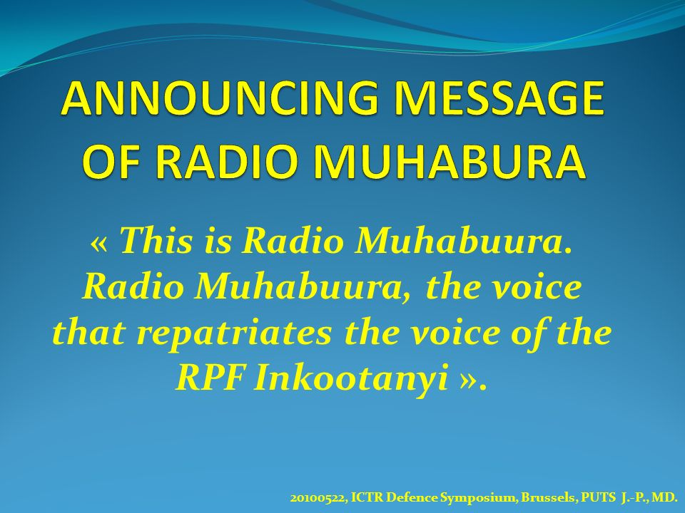 ANNOUNCING MESSAGE OF RADIO MUHABURA