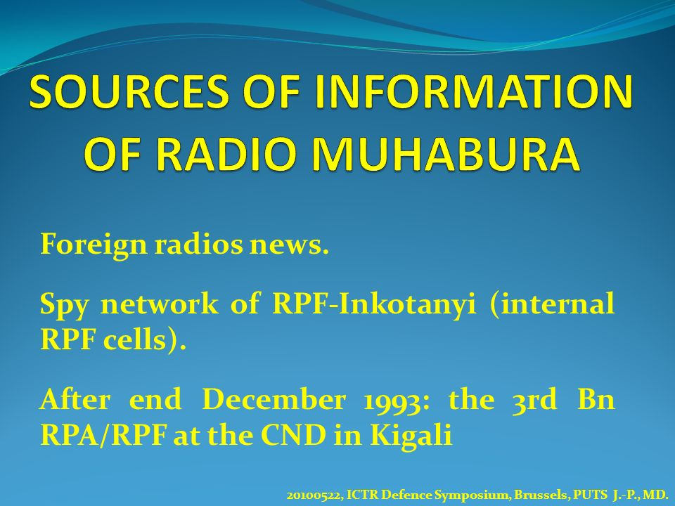 SOURCES OF INFORMATION OF RADIO MUHABURA