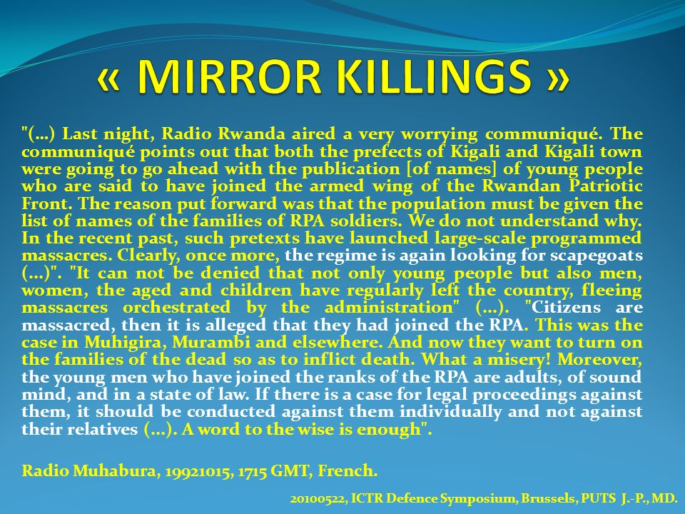 « MIRROR KILLINGS »