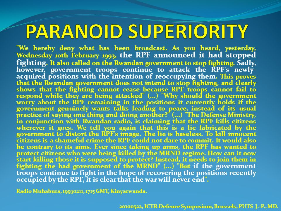 PARANOID SUPERIORITY