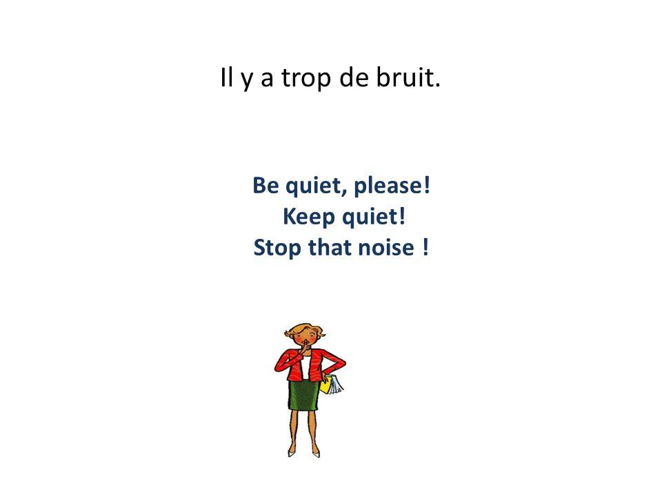 Il y a trop de bruit. Be quiet, please! Keep quiet! Stop that noise !