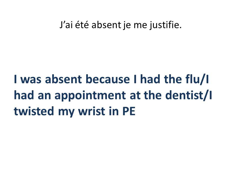 J'ai été absent je me justifie.