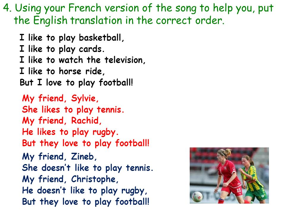 4. Using your French version of the song to help you, put the English translation in the correct order.