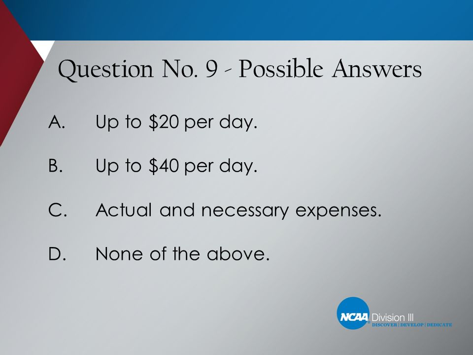 Question No. 9 - Possible Answers