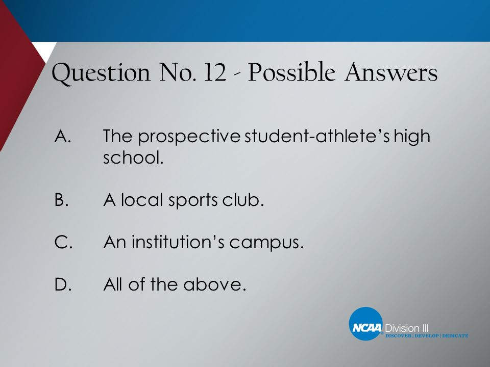 Question No. 12 - Possible Answers
