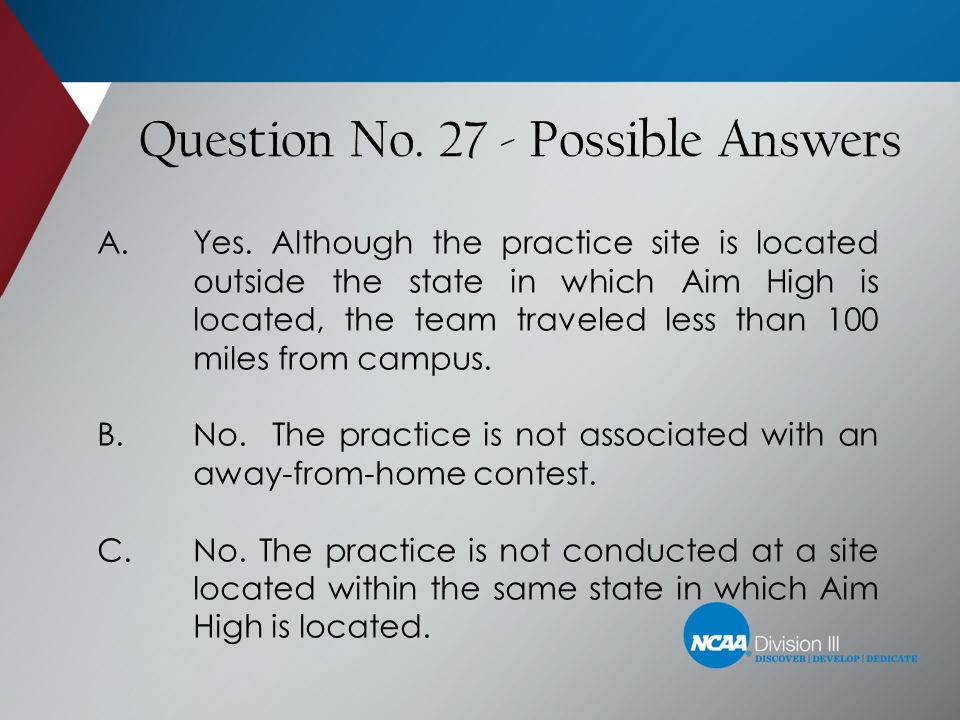 Question No. 27 - Possible Answers