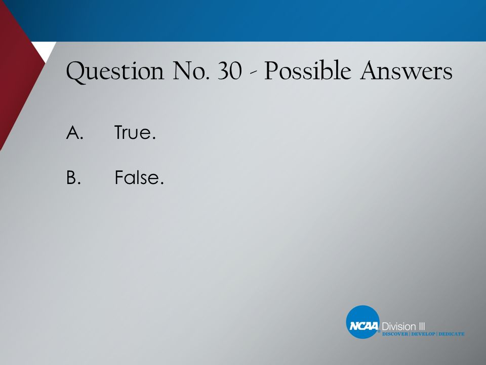 Question No. 30 - Possible Answers