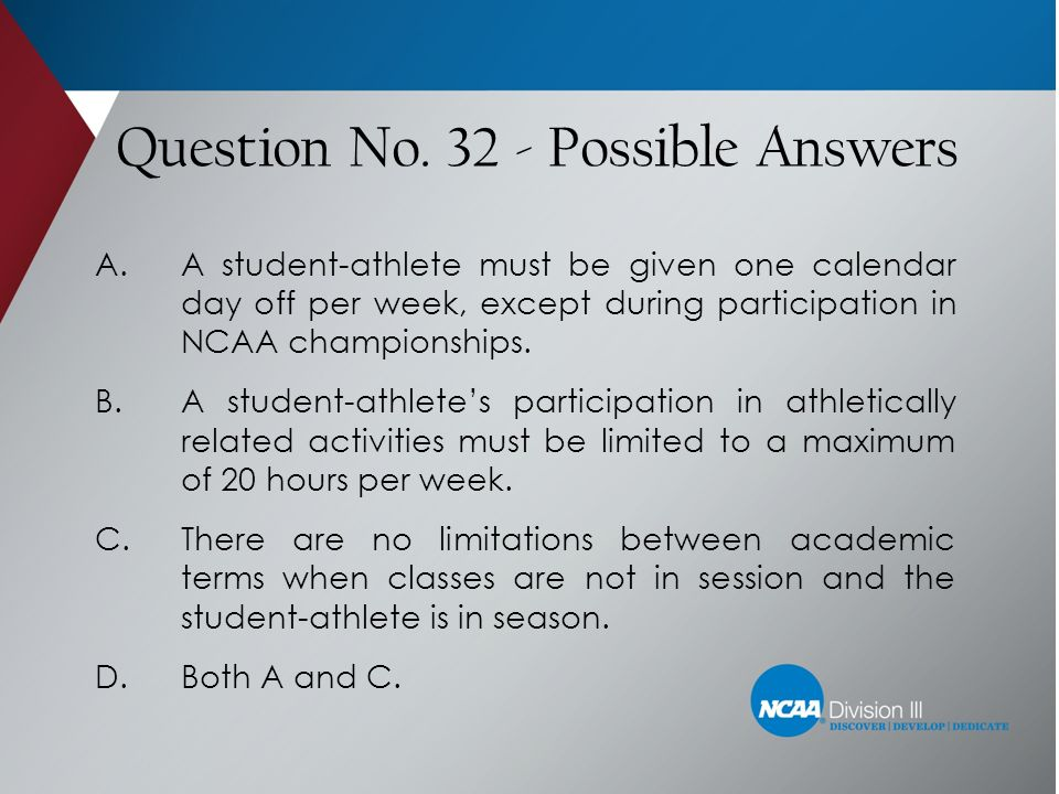 Question No. 32 - Possible Answers