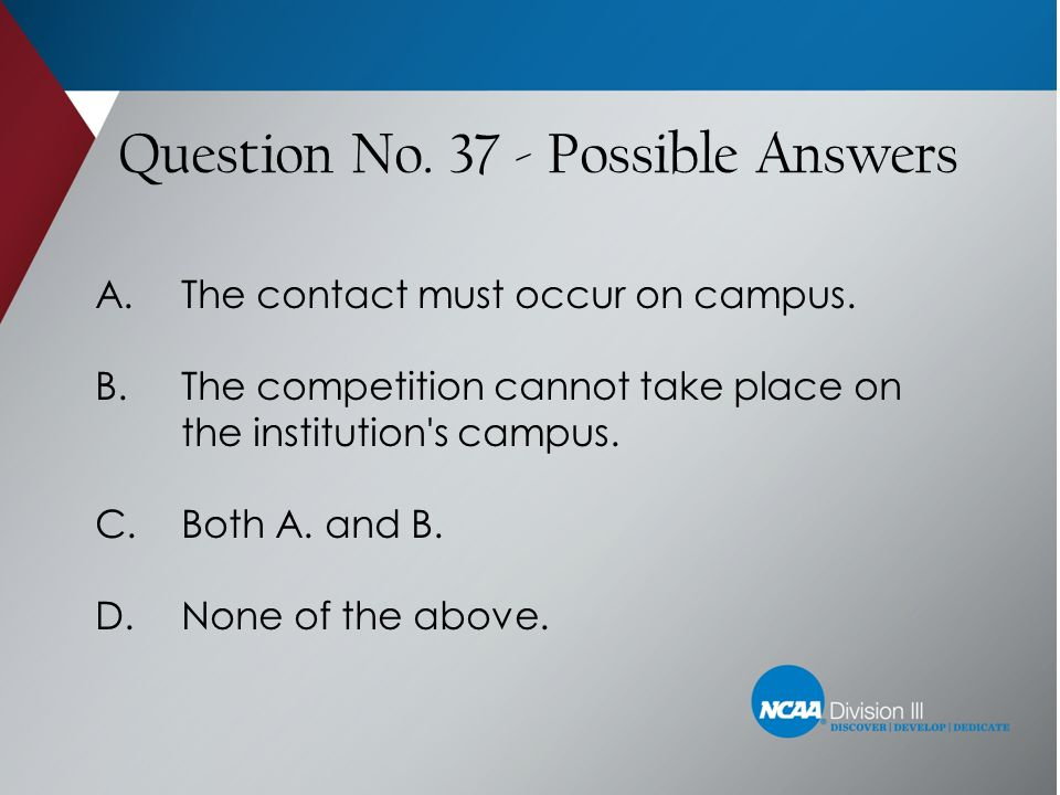 Question No. 37 - Possible Answers