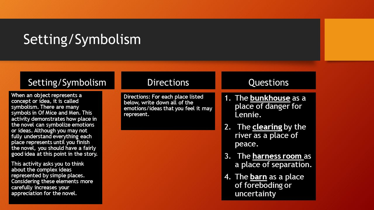 Symbols from of mice and men gallery symbol and sign ideas of mice and men analysis of chapters ppt download 8 settingsymbolism buycottarizona buycottarizona