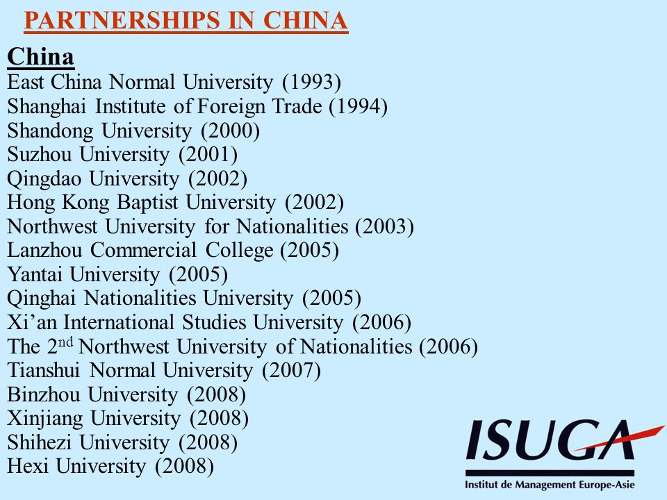 PARTNERSHIPS IN CHINA China