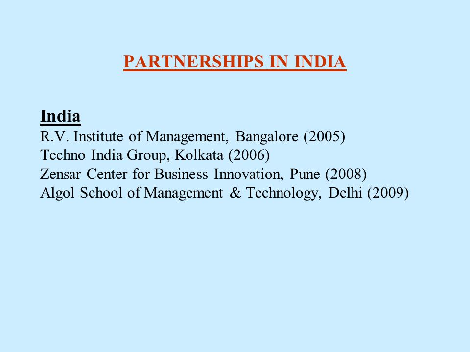 PARTNERSHIPS IN INDIA India