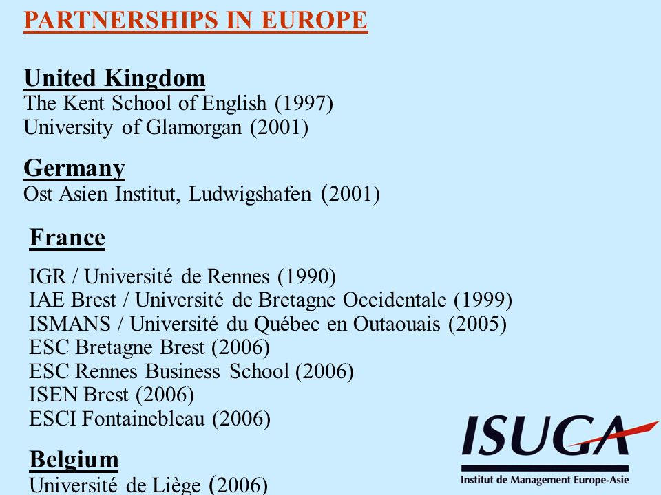 PARTNERSHIPS IN EUROPE