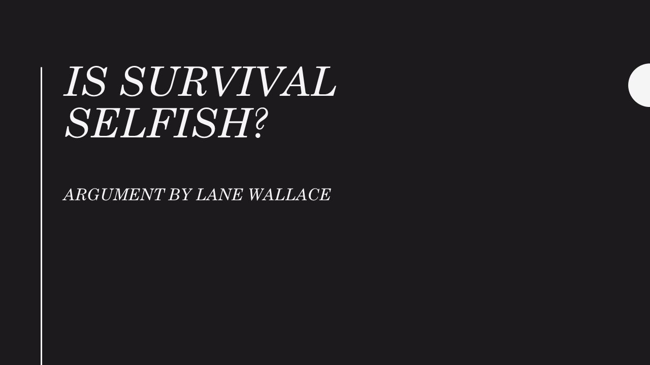 is survival selfish argument by lane wallace ppt video online  1 is survival selfish