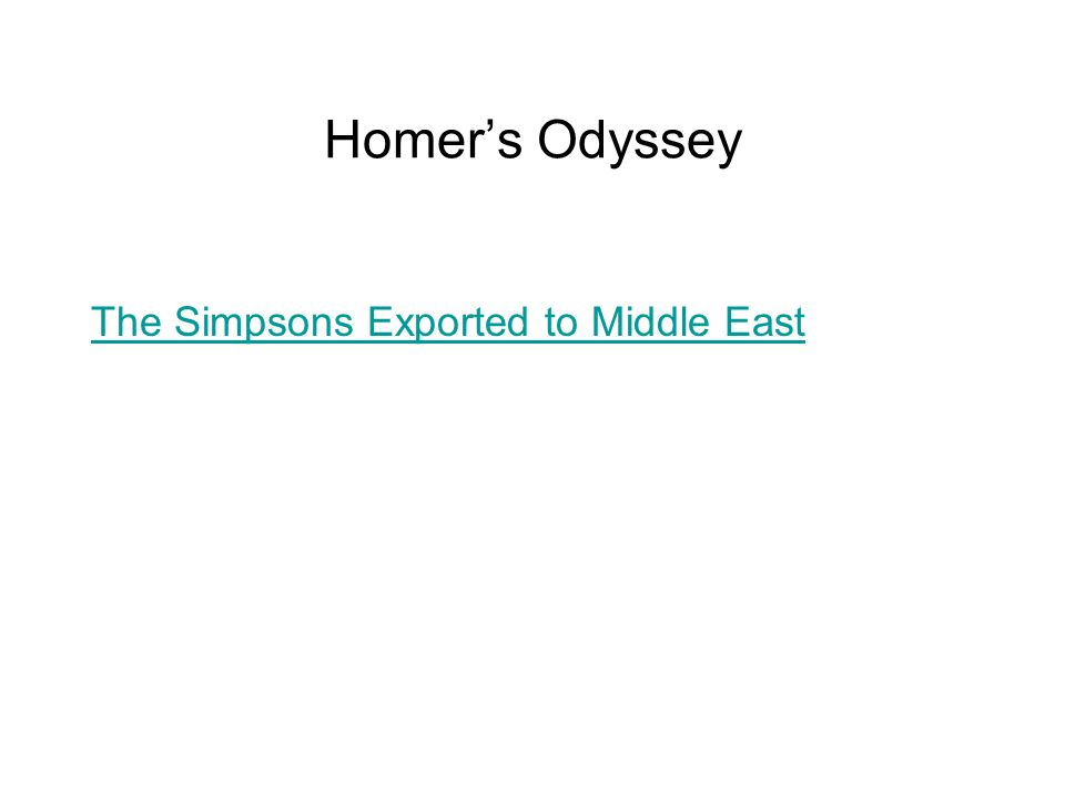 Homer's Odyssey The Simpsons Exported to Middle East