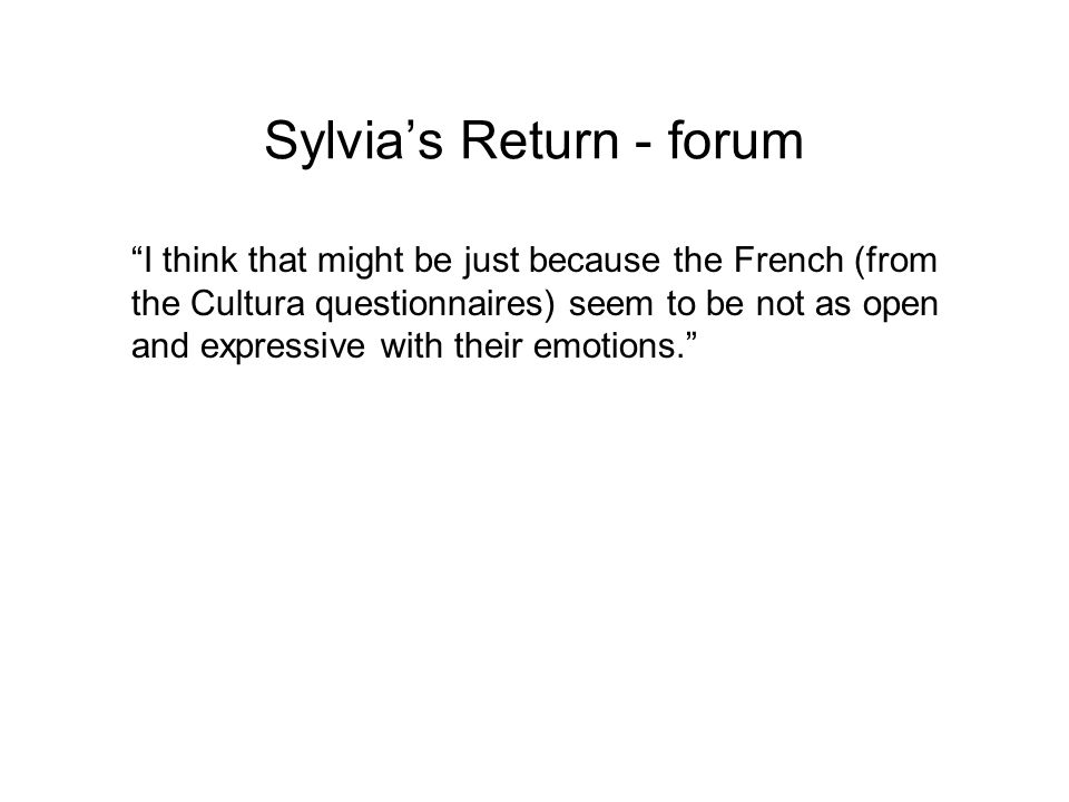 Sylvia's Return - forum