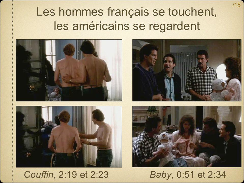 Les hommes français se touchent, les américains se regardent
