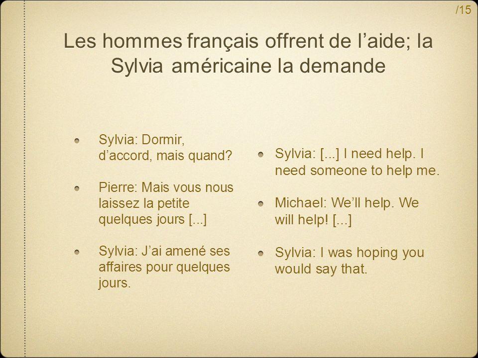 Les hommes français offrent de l'aide; la Sylvia américaine la demande