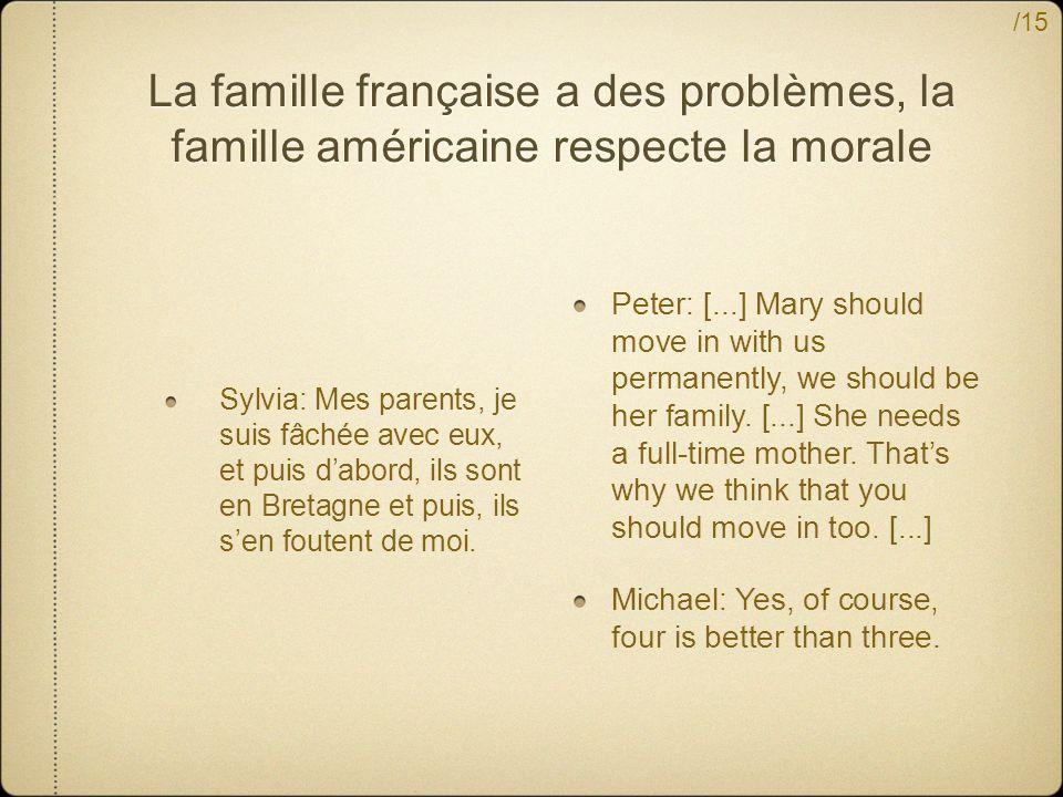 La famille française a des problèmes, la famille américaine respecte la morale