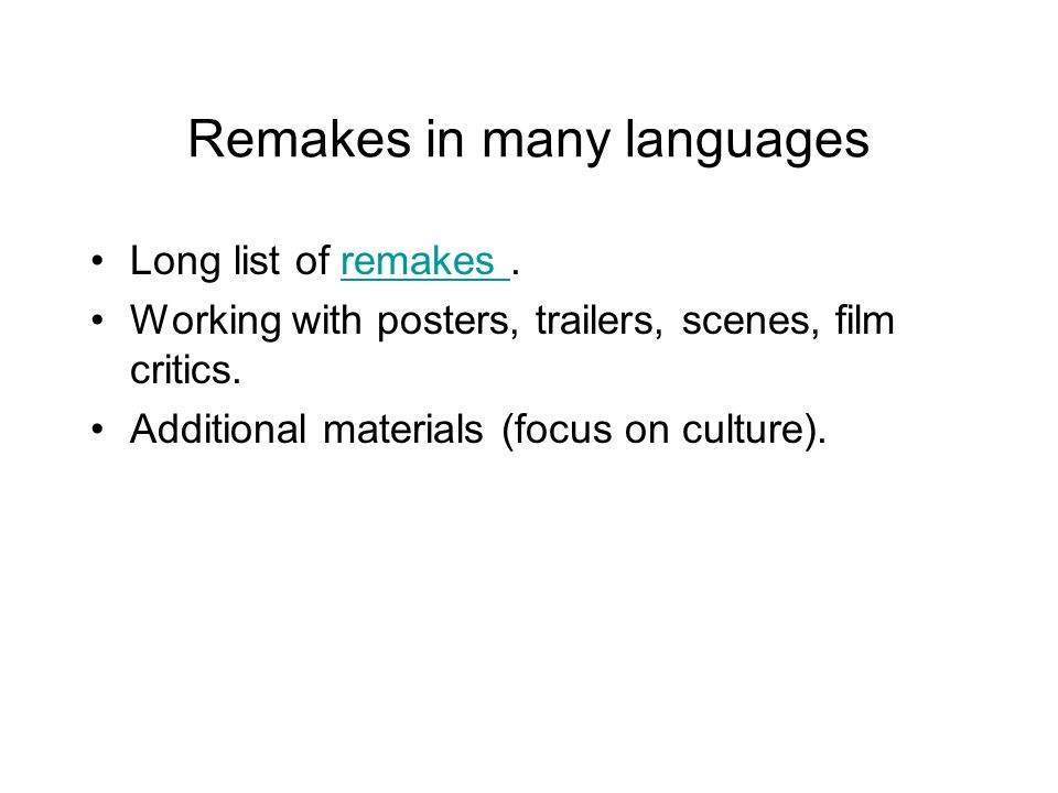 Remakes in many languages