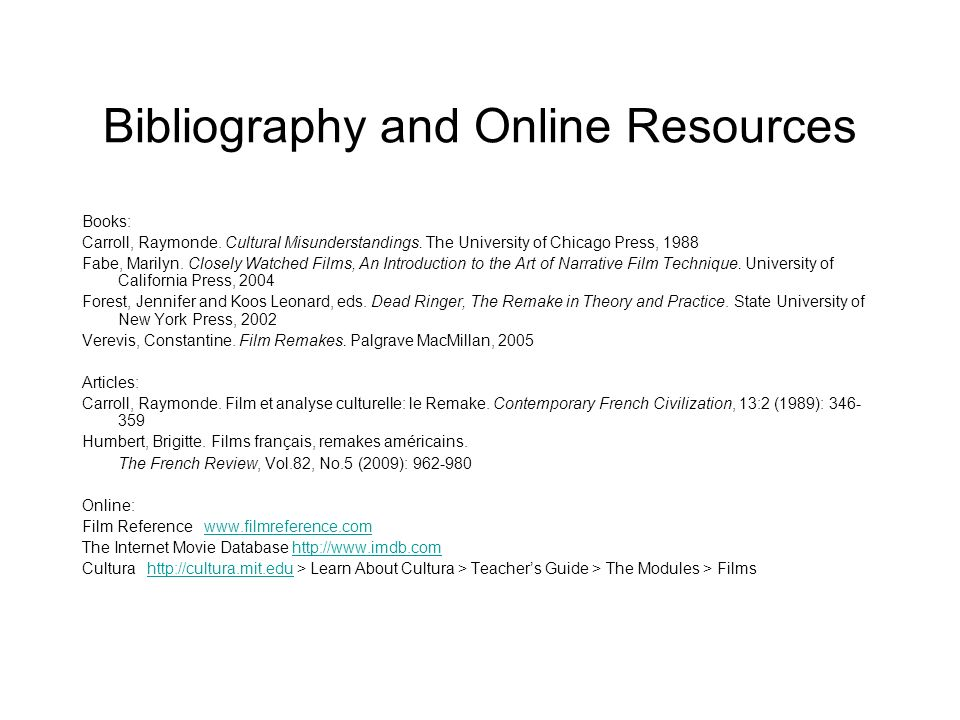 Bibliography and Online Resources