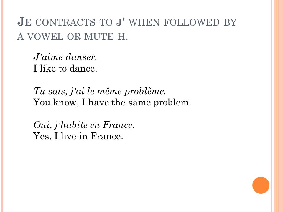 Je contracts to j when followed by a vowel or mute h.