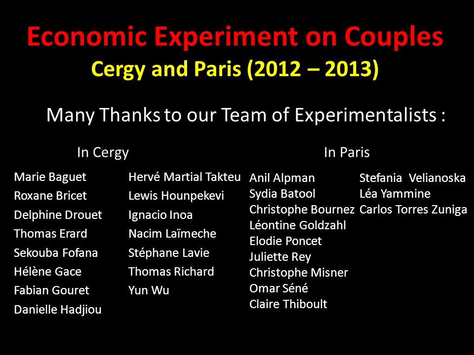 Economic Experiment on Couples Cergy and Paris (2012 – 2013)