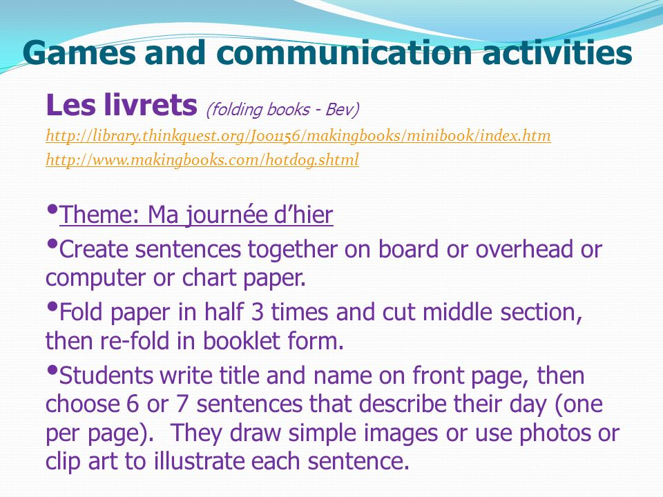 Games and communication activities