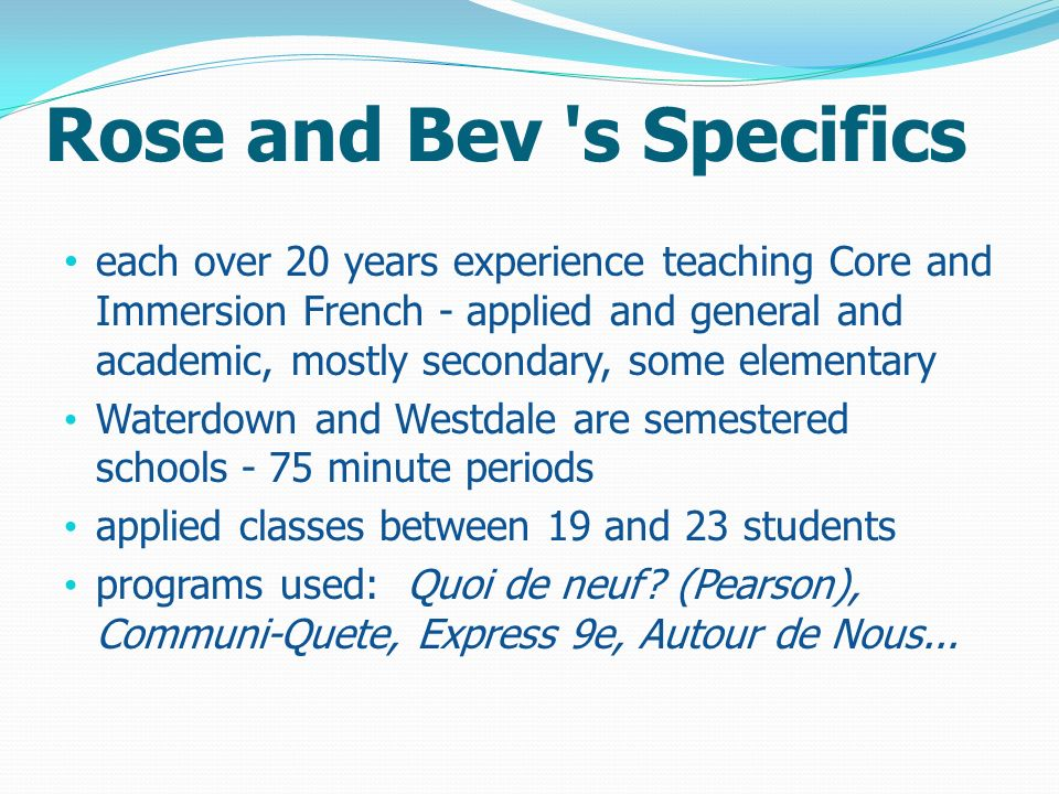 Rose and Bev s Specifics