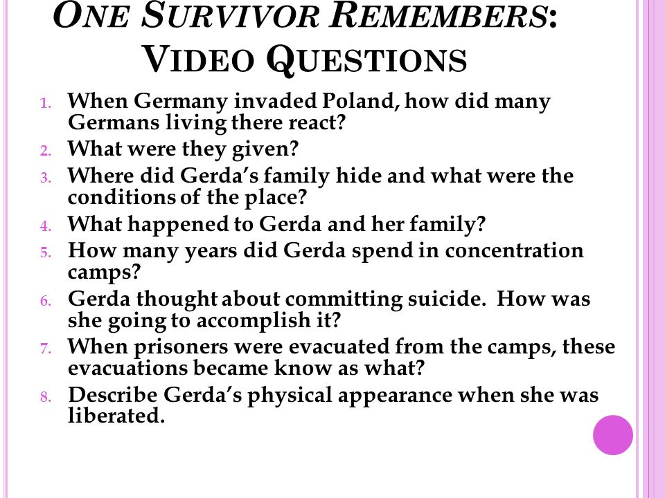 one survivor remembers