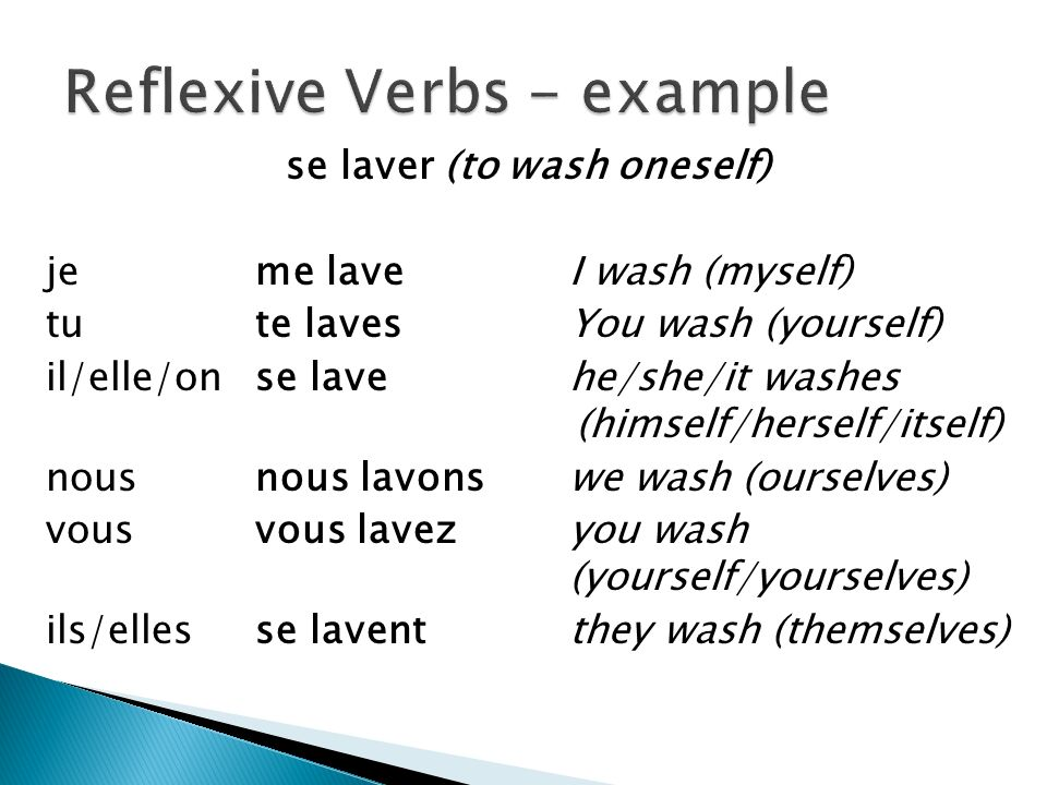 Reflexive Verbs - example