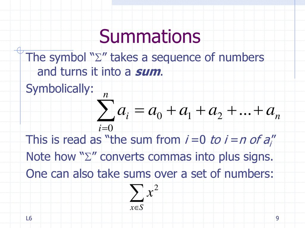 Sequences and sums ppt video online download 9 summations the symbol biocorpaavc Gallery